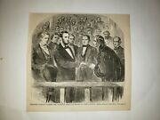 Abraham Lincoln Taking The Oath Front Of Capitol 1882 Civil War Print Sketch