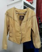 Vintage Adventure Bound By Wilsons Leather Yellow Tan Cropped Jacket Small 1616