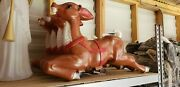 4 Blow Mold Reindeer For Santa In Sleigh Read Description And And See Pictures