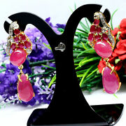 Natural Pink Red Ruby And White Topaz Long Earrings 925 Sterling Silver