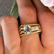 Womenand039s Vintage Natural Blue Topaz Ring 14k Yellow Gold Estate Antique Size 10