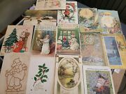Christmas New Years Holiday Postcards - Lot Of 14 - 1900's Vintage Embossed