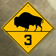 Manitoba Provincial Highway 3 Route Marker Road Sign Canada 1930s Bison Buffalo