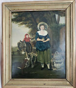 Antique American Folk Art Painting Oil On Board Size 16.5×19.5 Untitled Framed