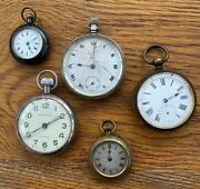 5 X Antique Vintage One Silver Cased Collection Of Pocket Watches Watch