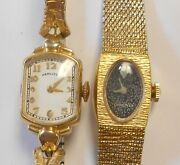 Group Of 2 Vintage Ladies Wind Up Wrist Watches Hamilton Longines Gold Filled