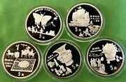 China 1992 5 Coin Ancient Invention And Discovery Silver Proof Set Series I