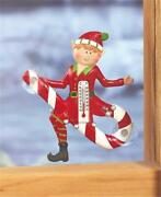 Christmas Elf Riding Candy Cane Outdoor Window Thermometer Suction Cups