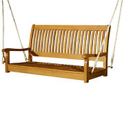 48andrdquo Acacia Wood 2 Person Hanging Slatted Outdoor Porch Bench Swing
