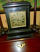Antique Victorian Small Single Fusee Library Bracket Old Ebonised Mantel Clock