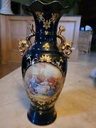 Gorgeous Large 24in Authentic Limoges Cobalt Urn