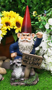 Ebros Grumpy Mr Gnome Dwarf With Feisty Raccoon Raising Fists Not Welcome Statue
