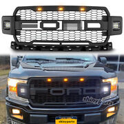 For 2018 2019 2020 Ford F150 Raptor Style Grill Front Bumper Mesh Grille W/ Led