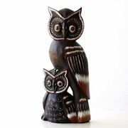 Owl Figurines Wood Carving Objects Wooden Fashionable Interior Wood-carved