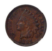 1897 1c Ngc Ef 45 Mpd Fs-401 Neat Indian Cent Misplaced Date Variety
