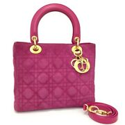 Christian Dior Cannage Lady Magenta Suede Leather 2way Shoulder Tote Bag/3442
