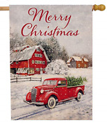Selmad Merry Christmas 28 X 40 House Flag Red Truck Double Sided, Winter Rustic