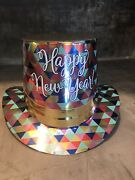 Happy New Years Eve Party Supplies 4 Festive Design Glitter Fancy Hi Top Hats