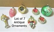 Mixed Lot Of 7 Assorted Antique Glass Christmas Ornaments