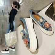 Women's Fashion Suede Leather Floral Platform Slip On Creeper Shoes Loafer Dat