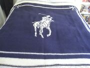 Polo Large Pony - Navy Blue And Ivory Knit 64 X 70 Throw Blanket Sale