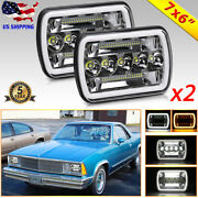 Pair 7x6 Led Headlights Hi Lo With Dual Halo Drl For Chevy Classic Car Truck