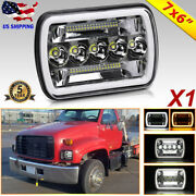 For Chevy C6500 C7500 Kodiak Corvette Classic Car 5x7/7x6 Led Headlight Halo Drl