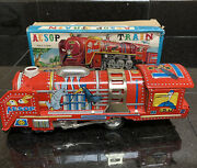 1950's Aesop Animal Locomotive Tin Friction Toy In Original Box Made In Japan