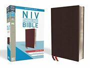 Niv Thinline Bible Large Print Bonded Leather Burgundy Indexed Red