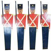 4 Vintage Carved And Hand Painted Toy Soldiers Yard Art Sculptures Nutcracker 85