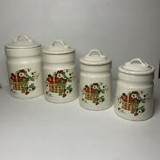 Vintage Set Of 4 Ceramic Strawberry Canisters White Red Green Kitchen Storage