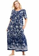 Only Necessities Womenand039s Plus Size Mixed Print Long Lounger Dress Or Nightgown