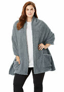 Dreams And Co. Womenand039s Plus Size Drape-over Sherpa Wrap Robe