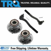 Trq 4 Pc Wheel Bearing Hub Assembly And Tie Rod Kit Set For Jeep Suv Truck New
