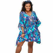 Swimsuits For All Women's Plus Size Jeweled Caftan Swimsuit Cover Up