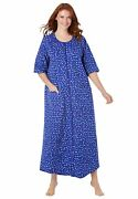 Dreams And Co. Womenand039s Plus Size Long French Terry Zip-front Robe