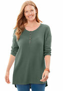 Woman Within Womenand039s Plus Size Washed Thermal Waffle High-low Henley Tunic -