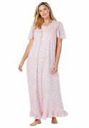 Dreams And Co. Womenand039s Plus Size Long Floral Print Cotton Gown Pajamas