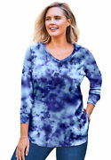 Woman Within Women's Plus Size Washed Thermal Waffle V-neck Tee Shirt -