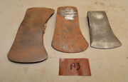 3 Axe Heads Double Oval Craftsman Logo Bbb Hand Made Embossed Plumb 2 Bit Lot A3