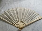 Antique Bovine And Lace Hand Fan With Floral Design