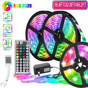 49ft 32ft Flexible 3528 Rgb Led Strip Lights Remote Rope Light Tv Room Party Bar