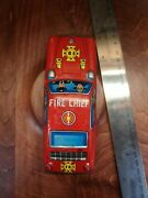 Vintage Metal Tin Friction Car Fire Chief Sport Car Made In Japan