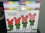 Gemmy Christmas Disney Magic Holiday 4 Mickey Mouse Light Bulb Pathway Stakes.