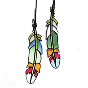 Haosum Stained Glass Window Hangings Set Of 2 Stained Glass Feather Colored For