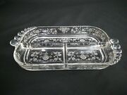 12 X 6 Fostoria Glass Relish Plate With Bubble Handles Saw Tooth Edges Preown