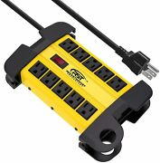 Crst Power Strip 10 Outlets Heavy Duty 15 Ft Cord 1800j Surge Protector 15 Amp