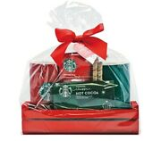 Starbucks Gift Set With Wooden Tray, 2 Mugs And 2 Hot Cocoa Holiday Red New