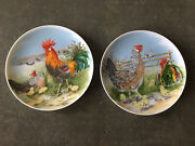 """Vintage Made In Japan Set Two Rooster Chicken Farmhouse Country Plates 7 3/4"""""""