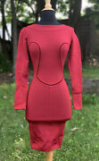 Alaia Rayon Red Pencil Dress Womenandrsquos Size Small Made In Italy